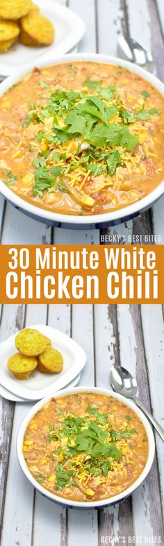 30 Minute White Chicken Chili is packed with lean chicken breast ...