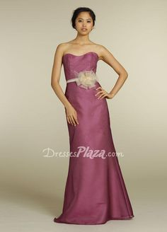 wine organza strapless a line floor length bridesmaid dress with flower belt