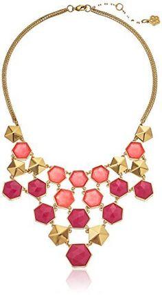 "Trina Turk ""The Explorer"" Gold-Plated Hexagon Bib Necklace, 18"""