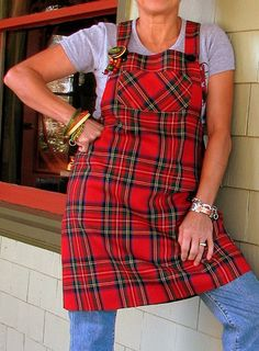 Red Tartan Apron - I definitely need one of these for holiday cooking/baking!!!