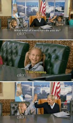 Adorable little girl on Ellen Degeneres show #truestory lol