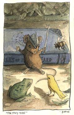 The Story Teller, 2010 © Megan Stringfellow Hamster, Children's Book Illustration, Animal Illustrations, Art Graphique, Whimsical Art, Oeuvre D'art, Book Art, Fairy Tales, Artwork