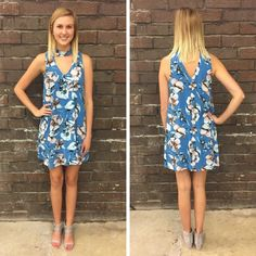 Another perfect floral shift dress! We love the choker neckline and gorgeous blue tones. - $47 #springfashion #spring  #fashionista #shoplocal #aldm #apricotlaneboutique #apricotlanedesmoines #shopaldm #desmoines #valleywestmall #fashion #apricotlane #newarrival  #shopalb  #ootd #westdesmoines  #shopapricotlaneboutiquedesmoines #ontrend