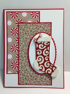 Hang Your Stocking, Christmas Stockings, Candy Cane Lane Decorative Paper, Christmas Card, Stampin' Up!, Rubber Stamping, Handmade Cards