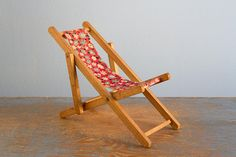 Miniature Wooden Folding Chair - Vintage Doll Furniture