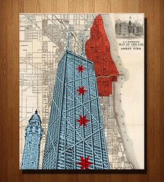 Hancock Building & Chicago Map Art  by DarkIslandCity on Scoutmob Shoppe