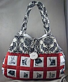 Black and Red Musical Fabric | ... Quilted Fabric Tote Bag - Red, Black, White | Flickr - Photo Sharing