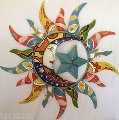 Colorfully Painted Moon Star Sun Celestial Decorative Metal Wall