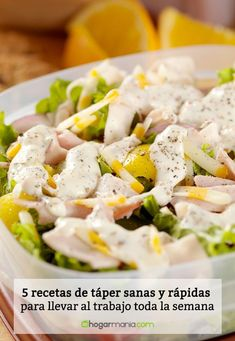 5 recetas de táper sanas y rápidas para llevar al trabajo toda la semana   #recetas #healthyfood #healthyrecipes #recetas #cocina Potato Salad, Smoothies, Menu, Potatoes, Cooking, Healthy, Ethnic Recipes, Food, Healthy Lunches