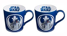 Vandor Set of 2 Disney Star Wars Blue And White 12oz Ceramic R2D2 Mugs Bleep Bleep Bloop 5 Inches  @ niftywarehouse.com #NiftyWarehouse #Geek #Products #StarWars #Movies #Film