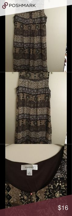Brown Print Dress Super cute brown patterns with gold flecks. This is lovely with a little swing and very comfortable. Dress Barn Dresses Midi