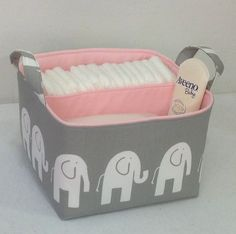 "LG Diaper Caddy 10""x10""x7"" Fabric Storage Bin Organizer Basket, White Elephant /Grey with Light Pink Lining on Etsy, $42.00"