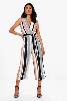 fd44d0c032c Boohoo Womens Brianna Striped Tie Belt Culotte Jumpsuit  fashion  clothing   shoes  accessories