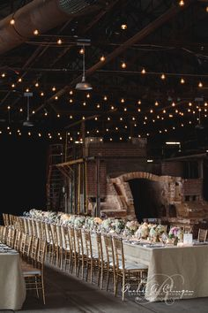 Rustic Toronto event spaces are difficult to find but the Evergreen Brickworks is a historical gem. Love the low florals all in a row separated by candle light. photo by Brick Works, National Landmarks, Wedding Decorations, Table Decorations, Wedding Designs, Wedding Ideas, Wedding Events, Weddings, Wedding Gallery