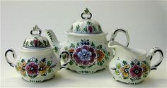 Painted Flowers Teapot with Cream and Sugar