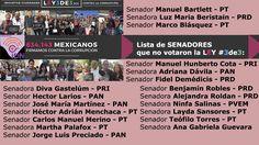 "Lista de SENADORES que se ""ausentaron"" y no votaron #ley3de3:"