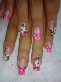 Imagen relacionada Cute Nail Art, Cute Nails, Pretty Nails, Fabulous Nails, Gorgeous Nails, French Nails, Flower Nails, Cute Nail Designs, Spring Nails