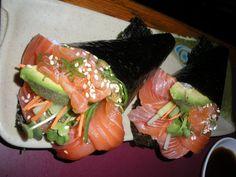Brown rice, sushi-grade raw salmon, avocado, nori.  Season the brown rice with rice vinegar and grated ginger.  Gluten-free tamari sauce to dip