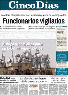 Los Titulares y Portadas de Noticias Destacadas Españolas del 14 de Enero de 2013 del Diario Cinco Días ¿Que le parecio esta Portada de este Diario Español?