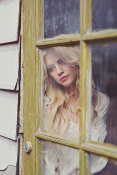 Looking in the window girl portrait