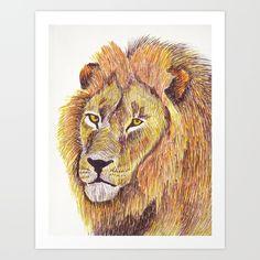 King of the Jungle Art Print by Janet Datu Jungle Art, Pen Art, Lion, Art Prints, September, Animals, Illustrations, Free Shipping, Leo