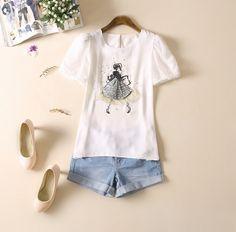 cute t-shirts women pattern cultivate cute leisure chiffon