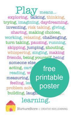 Why is play important for children's development - free printable poster :: play based learning ::
