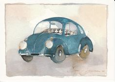 Postcrossing postcard from Finland Finland, Vw, Watercolor, Wall Art, Cards, Poster, Painting, Cars, Autos