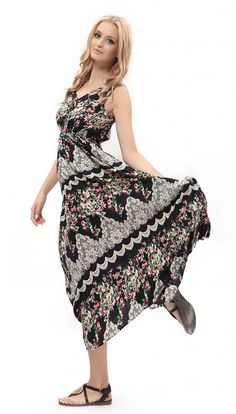 Dilanni Women's Strap Sleeveless Floral Printed Summer Beach Bohemian Sundress >>> Awesome product. Click the image : Plus size dresses