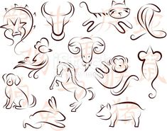 Find Chinese Zodiac Symbols Ink Line Drawing stock images in HD and millions of other royalty-free stock photos, illustrations and vectors in the Shutterstock collection. Thousands of new, high-quality pictures added every day. Chinese Zodiac Dragon, Chinese Astrology, Chinese Zodiac Signs, Horoscope Tattoos, Zodiac Sign Tattoos, Zodiac Symbols, Zodiac Art, Tattoo Caballo, Ox Tattoo