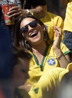 Gabriella Lenzi, the girlfriend of Brazil's forward Neymar, attends the round of 16 clash between Brazil and Chile.