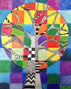Colored pencil with black & white patterns on tree.