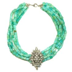 Peruvian Opal + Vintage Art Deco brooch...meet the Imperial Aqua statement piece!