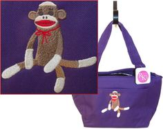 Sock Monkey & Red Bow Lunch Pail Cooler by RKEmbroideryBoutique