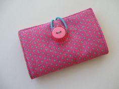 Hot pink polka dot BUSINESS CARD CASE, gift card holder, or rewards card case. $7.00, via Etsy.
