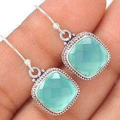 Aqua Chalcedony 925 Sterling Silver Earring Jewelry EE21192 | eBay