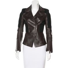Pre-owned Versace Leather Moto Jacket ($495) ❤ liked on Polyvore featuring outerwear, jackets, brown, real leather jackets, brown biker jacket, brown jacket, genuine leather biker jacket and brown leather jacket