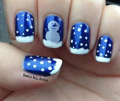 Simple Snowman nail art featuring ILNP Summer Stargazing and Winstonia W120 plate, holiday nails, winter nails, snow nail art