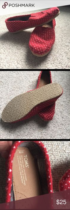 Toms fleece shoes Toms shoes never worn. Red with White polkadots. Blue plaid fleece in the inside. Size M9 TOMS Shoes Slippers