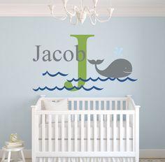 Custom Whale Name Wall Decal for Boys - Kids Room Decor - Nursery Nautical Wall Decals - Nautical Wall Decor Vinyl (32Wx18H)