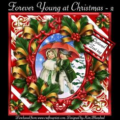 Forever Young at Christmas 2 by Kim Blundred This kit contains 4 sheets designed for use with an 8x8 card blank. The sheets included are square base & insert decoupage and sentiment panels.The design features vintage children out for a stroll in a winter environment. The ornate frame sits on a bed of bow-covered holly and is topped with 2 individual elements. The text panel as shown on the prev