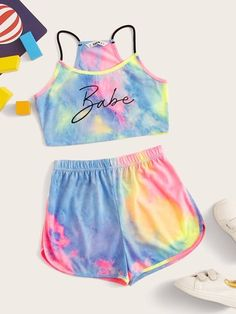 Verdusa Girl's 2 Piece Outfit Letter Tie Dye Crop Cami Top and Shorts Set, Clueless Outfits, Crop Top Outfits, Cute Outfits For Kids, Cute Summer Outfits, Cute Casual Outfits, Outfits For Teens, Pretty Outfits, Girls Fashion Clothes, Teen Fashion Outfits