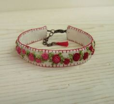 Red and Pink Roses Hand Embroidered Cuff Bracelet by Sidereal