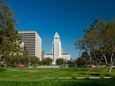 The green grass in Grand Park in DTLA.
