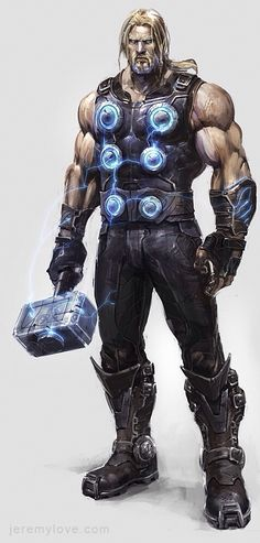 Thor Concept Art for Canceled Marvel Game - artist? an artist redesign of Thor; it would seem that the artist wanted to go for a more futuristic design for Thor appearing darker and having less ancient armour. Comic Book Characters, Comic Book Heroes, Marvel Characters, Comic Character, Comic Books Art, Comic Art, Hq Marvel, Marvel Comics Art, Bd Comics
