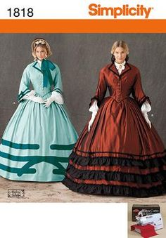 Simplicity Sewing Pattern.  Misses' Civil War costume with trim variations, separate sleeves and collared shirtwaist. Andrea Schewe.