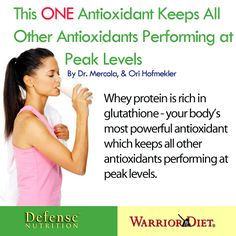 This ONE Antioxidant Keeps All Other Antioxidants Performing at Peak Levels Whey protein is rich in glutathione - your body's most powerful antioxidant which keeps all other antioxidants performing at peak levels. Food Technology, Most Powerful, Whey Protein, Reading Lists, Whole Food Recipes, Paleo, Nutrition, Feelings, Lifestyle