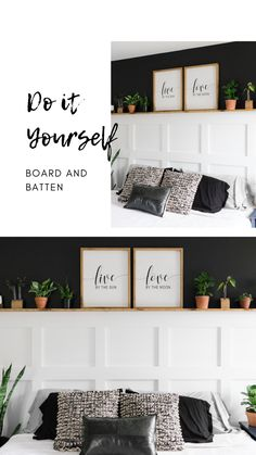 Excited to share our master bedroom renovation and show you how to install board and batten for your next DIY project! The black wall and stained ledge shelf really brought all the boho farmhouse vibes into this room. Accent Wall Bedroom, Bedroom Decor, Board And Batten, Black Walls, Home Projects, Home Remodeling, Sweet Home, New Homes, Ledge Shelf