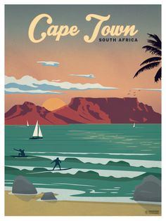 Cape Town Poster by IdeaStorm Studios Available for sale at ideastorm. - Cape Town Poster by IdeaStorm Studios Available for sale at ideastorm. Poster Art, Poster Prints, Art Print, Cape Town South Africa, South Africa Art, Art Graphique, Cool Posters, Retro Posters, Vintage Travel Posters