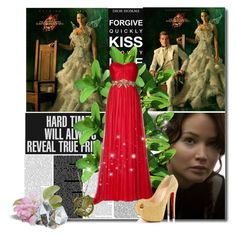 """""Fire is catching! And if we burn, you burn with us!"" ~Katniss Everdeen"" by lovesammi98 ❤ liked on Polyvore featuring Marchesa, Christian Louboutin, red, Hungergames and christianlouboutin"